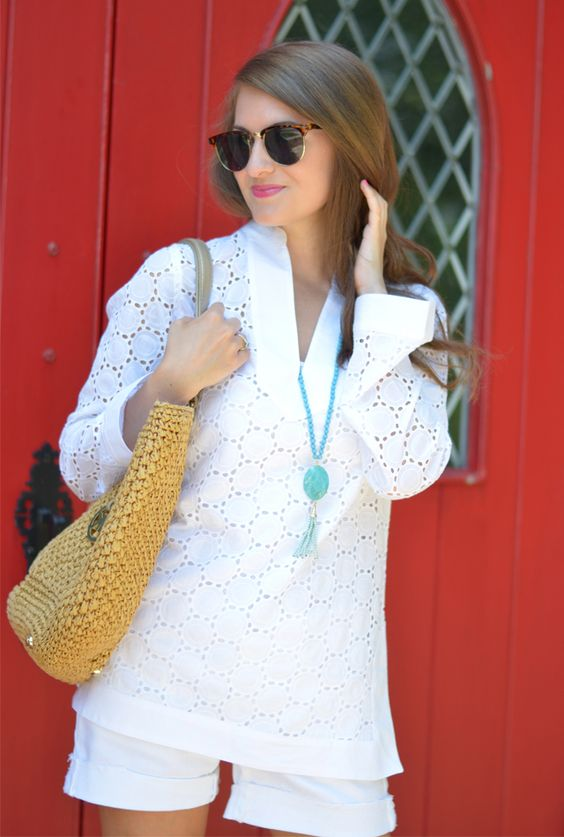 Southern Curls & Pearls: Eyelet Tunic
