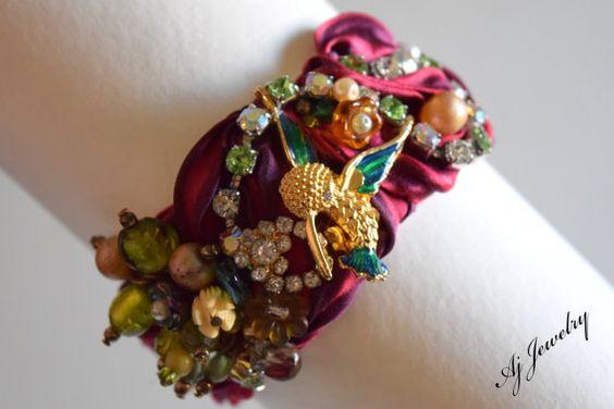 Hey, I found this really awesome Etsy listing at https://www.etsy.com/listing/226798709/shibori-silk-bracelet-humming-bird