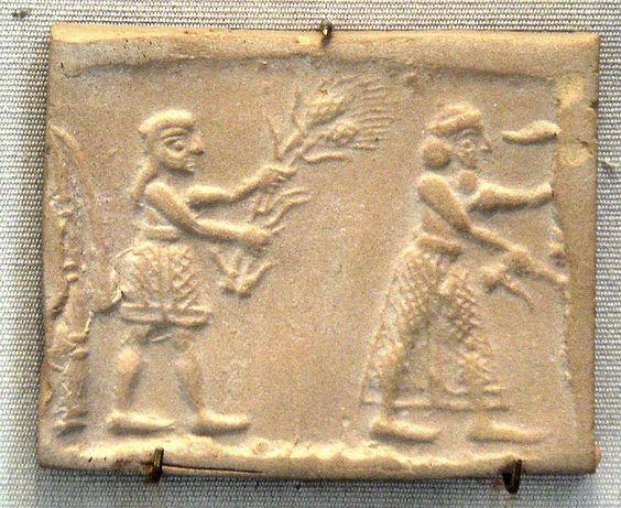 Le roi-nourricier sur un sceau de la fin de la période d'Uruk