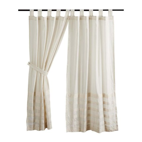 Quinn Creme Unlined Tab Top Short Panel Curtains 63