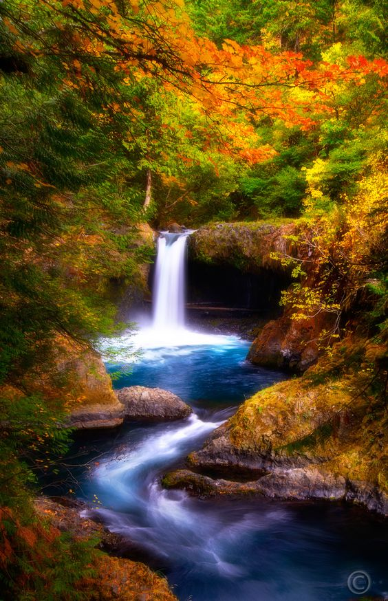 Although water level was unusually low, reducing the powerful persona of the waterfall, the downstream s-curve became more pronounced & created an interesting pattern.  Lovely foliage colors added to the serenity of the scene.