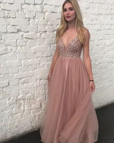 Backless Tulle Beaded Prom Dresses Party Dresses With Spaghetti Straps Lpd012 In 2020 Abiball Kleider Lang Abendkleid Altrosa Trauzeugin Kleid