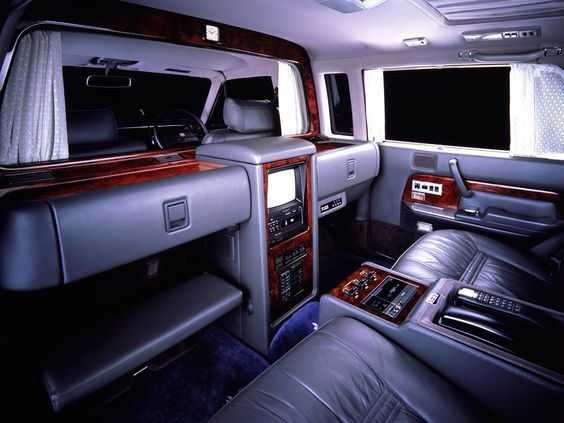 Luxurious interior of a Toyota Century Royal, circa 1980s.