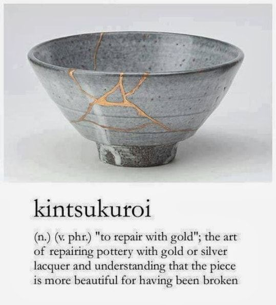 story of kintsugi may have begun in the late 15th century, when the shogun Ashikaga Yoshimasa sent a damaged Chinese tea bowl back to China to be fixed. It returned held together with ugly metal staples, launching Japanese craftsmen on a quest for a new form of repair that could make a broken piece look as good as new, or better. Japanese collectors developed such a taste for kintsugi that some were accused of deliberately breaking prized ceramics, just to have them mended in gold.: