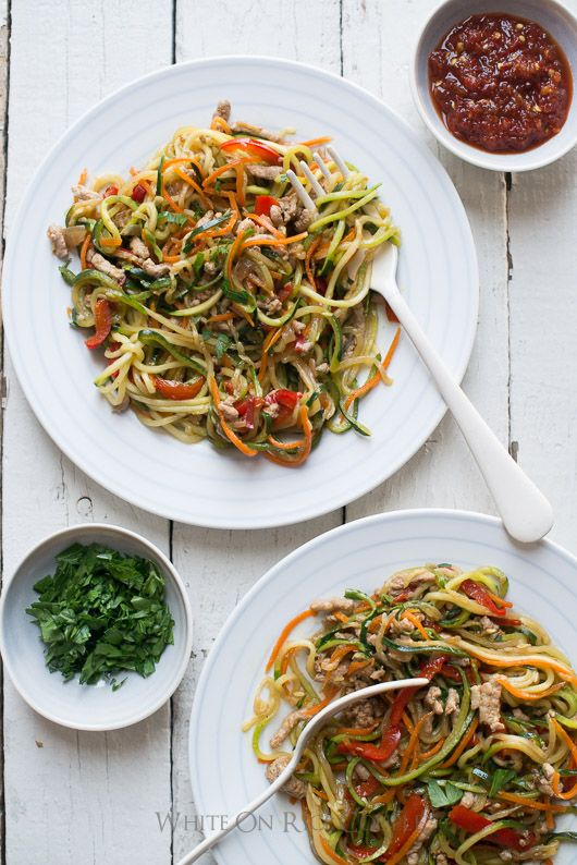 Zucchini noodles, Chow mein and Healthy zucchini