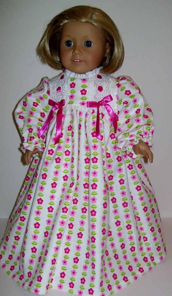 Cozy flannel nightgown fits American Girl and similar dolls