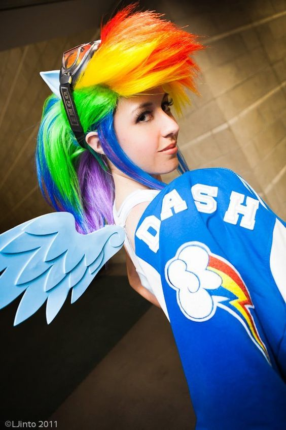 Rainbow Dash cosplay.  Done by: https://www.facebook.com/scruffyrebelcosplay: