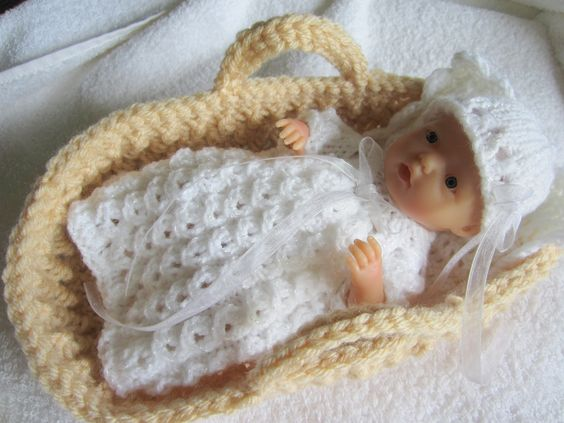 Knitting Pattern For Dolls Moses Basket : created this knit christening gown set and crochet moses ...