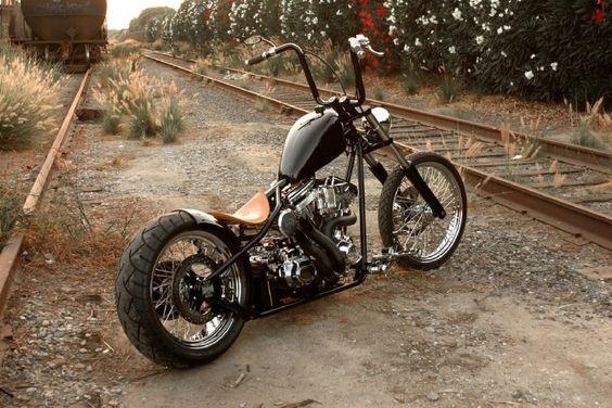 """Black"" Harley-Davidson Chopper. - repinned by http://www.vikingbags.com/"
