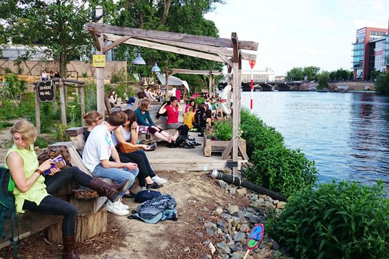 Holzmarkt / Pampa Berlin  Alternatives Community Projekt an der Spree. Urban Farming, Theater, Kunst, Party, Bar, Cafe, Restaurant, usw…  Holzmarktstr. 25, 10243 Berlin-Friedrichshain  Open Fri-Sun 14-22h