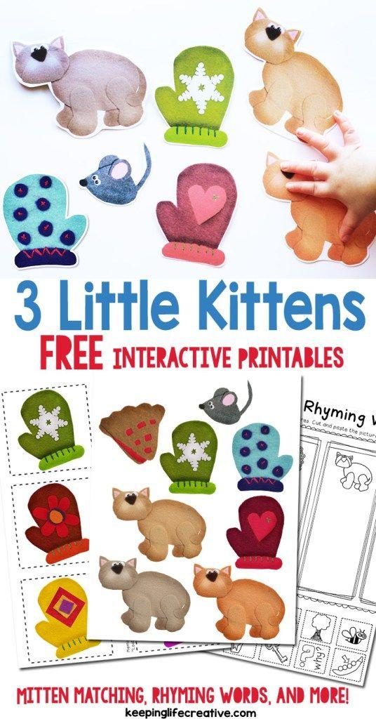 Three Little Kittens Storytime Activities Nursery Rhymes Preschool Nursery Rhymes Activities Pets Preschool