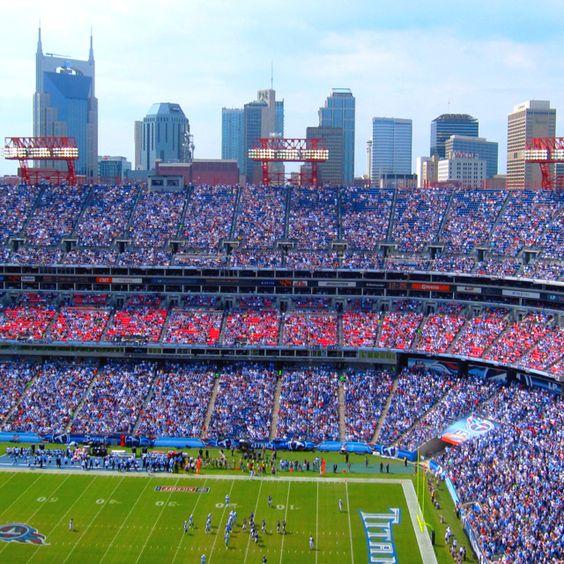 The beautiful Nashville skyline during a Tennessee Titans game! #nashvillelove #tennesseetitans