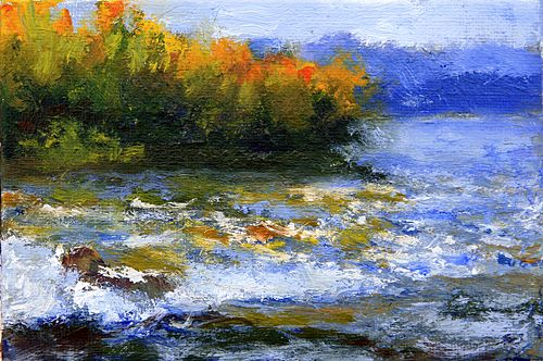 "Autumn Rapids  4""x6"" Oil on canvaspanel  $60.    I did this little gem a few years ago and found it in my studio just the other day. I still love it! It is so vivid and vigorous!"
