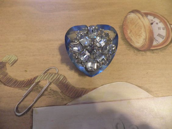 Blue HEART Diamond Cut Paperweight with Stunning blue vintage brooch by BlueberryManor, $19.95