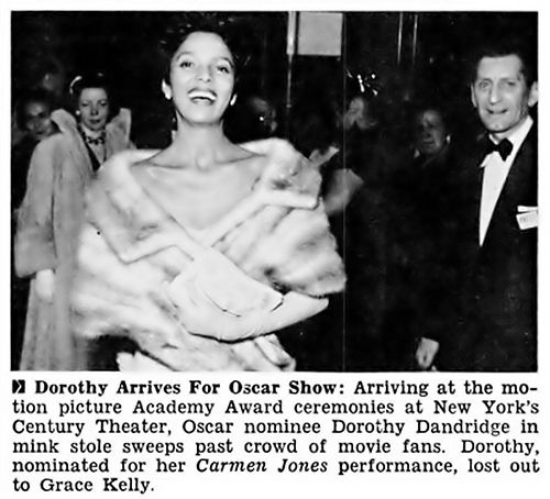 Dorothy Dandridge Arrives At the Academy Awards - Jet Magazine, April 14, 1955 by vieilles_annonces, via Flickr