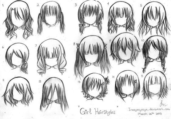 chibi hairstyles art pinterest coiffures chibi and