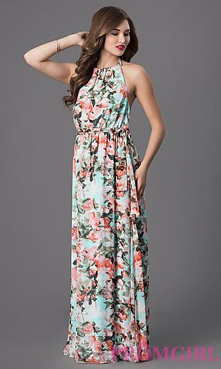 Floor Length Floral Print Halter Maxi Dress by Jessica Simpson at ...