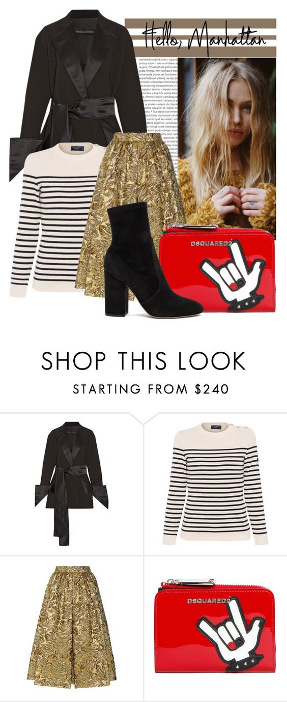 """""""New York Fashion Inpsired"""" by chiclookdujour ❤ liked on Polyvore featuring Oris, Michael Lo Sordo, Saint James, Prada, Dsquared2, Valentino, Winter, mixedpatterns and trendycoat"""