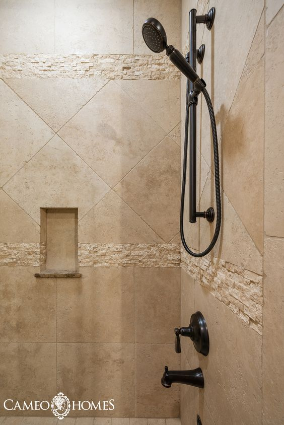 Beautiful Tile Combination In This Shower Park City Utah By Utahs Luxury Home Builders Cameo Homes Inc