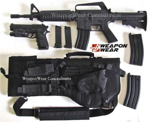 Black-Tactical-Rifle-Scabbard-SLING-Case-for-AR-15-Pistol-Double-Mag-Pouch