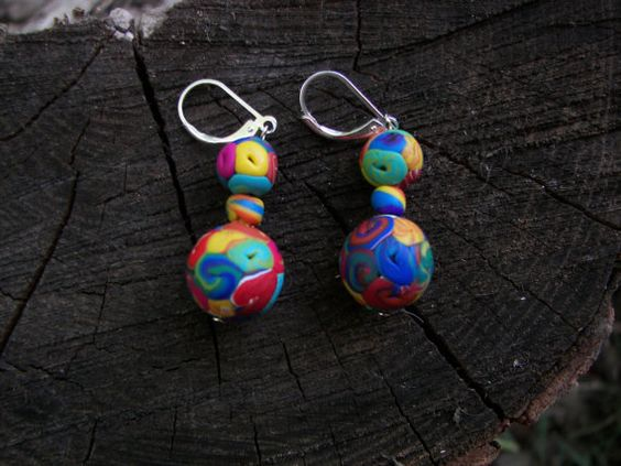 fun earrings!  Bright colorful sterling silver and polymer clay by greenchicliz, $10.00
