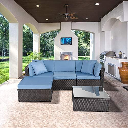 Ecolinear 5pcs Outdoor Pe Wicker Rattan Sofa Patio Sectional
