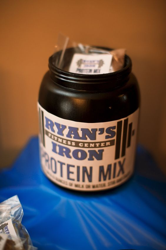 """Protein Mix"" aka Chocolate Milk Mix for Work Out Themed First Birthday Party."