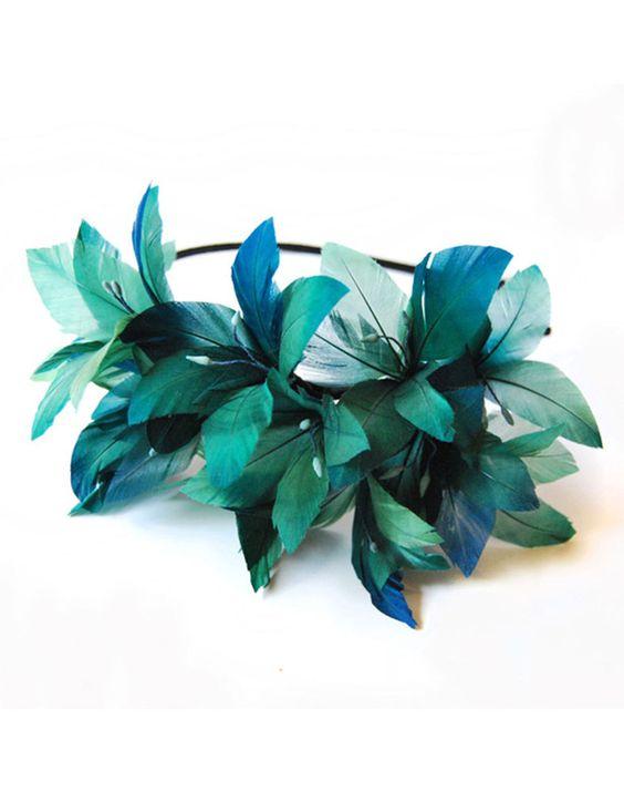 Tocado con plumas de pato verdes - Táneke