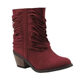 REFRESH MAKAY-03 Womens western style mid calf boots on chunky heels with micro suede upper