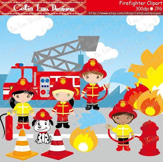 Cute Firefighter Clipart Fireman clip art CG034 by CeliaLauDesigns, $5.00