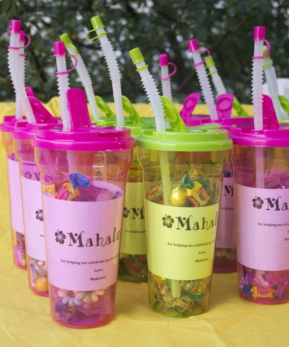 """Mackie's 3rd luau birthday party favors -- all for under twenty five dollars!  """"Mahalo for helping me celebrate my 3rd birthday... love, Makenna"""""""