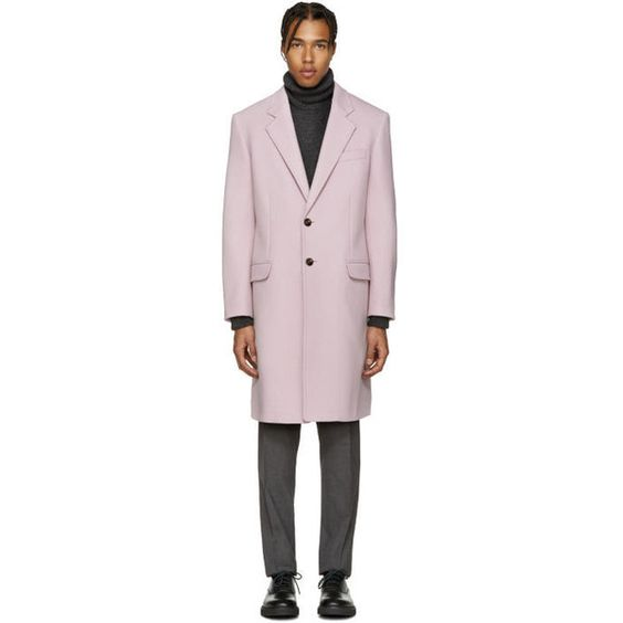 Versace Pink Wool Coat ($1715) ❤ liked on Polyvore featuring