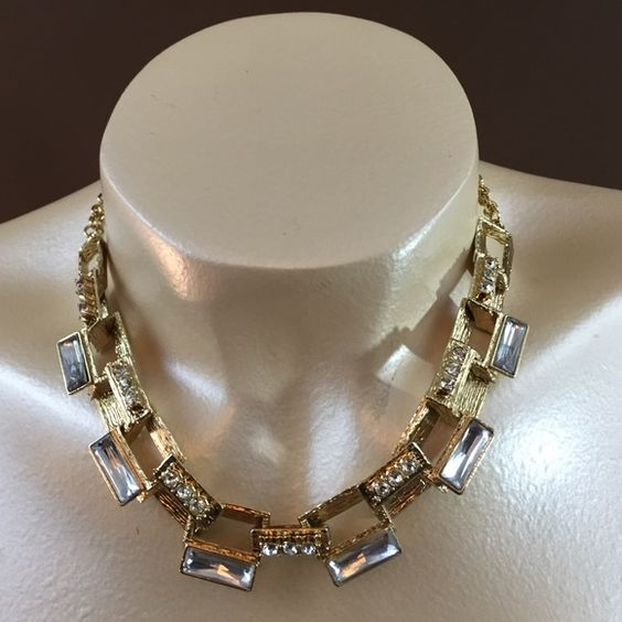 """Necklace Set Gold tone link chain with 3D style rectangular links with Crystal accents and matching fish hook (pierced) earrings. 3""""L extender chain attached for ease of use. Jewelry Necklaces"""