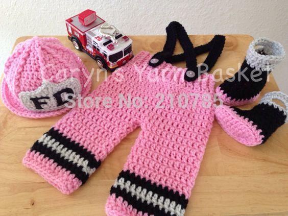 recién nacido bomberos disfraz fotografía proposición Crochet ...