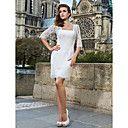 Sheath/Column Square Short/Mini Lace Wedding Dress - USD $ 279.99
