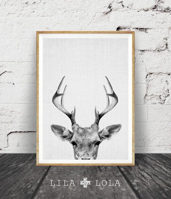 Hirsch-Print, Hirsch Geweih, Woodlands Decor, Wildnis Wandkunst, Baumschule schwarz und weiß, Tier drucken, druckbare Kunst, Hirsch Kopf Download