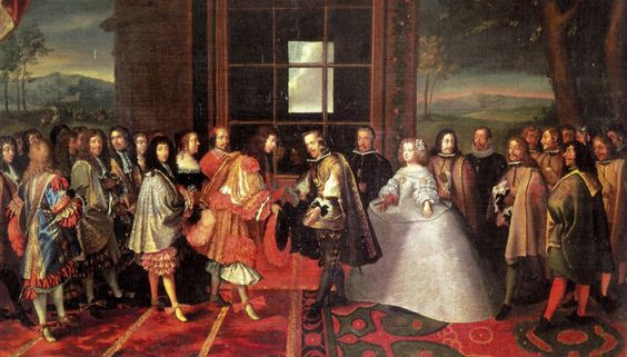 King Louis XIV of France meets Philip IV of Spain and his bride Maria Theresa (Philip's daughter) at Pheasant Island, June 1660.