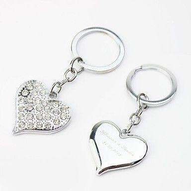 porte-clés personnalisé conception de coeur avec strass (lot de 4) – USD $ 6.64