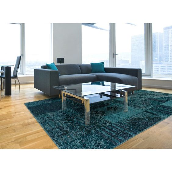 Great Patchwork Over Dyed Teal Gray Area Rug 6 7 X 9 By Style Haven