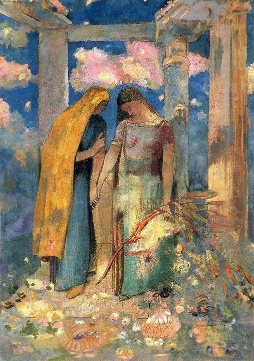 Mystical Conversation by Odilon Redon (1896)