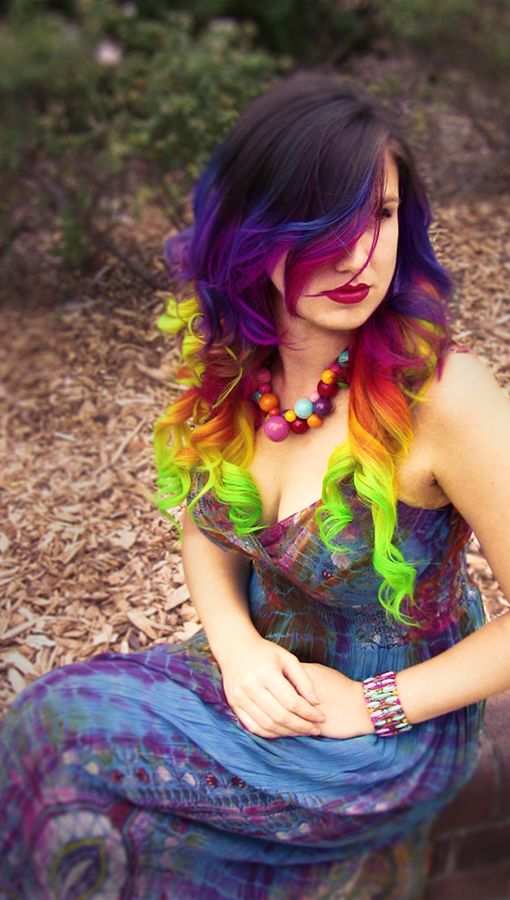 Hand dyed rainbow hair extensions clip in full head set: