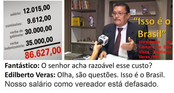 """EDGAR RIBEIRO: """"ISSO É O BRASIL !!"""", DIZ PRESIDENTE DE CÂMARA DE ..."""