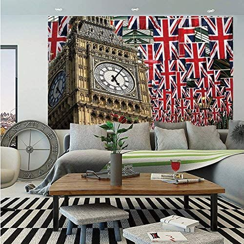 Sosung Union Jack Removable Wall Mural Uk Flags Background With Big Ben Festive Celebrations