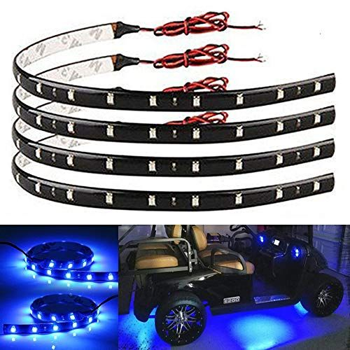 Everbright 4 Pack Blue Led Strip Lights For Cars 30cm 5050 12 Smd Waterproof Car Underglow Lights In 2020 Led Strip Lighting Flexible Led Strip Lights Strip Lighting