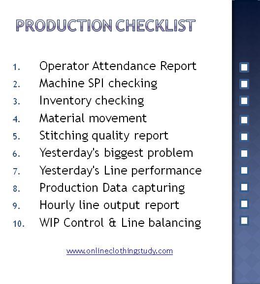 Production Checklist For Garment Factories  Production