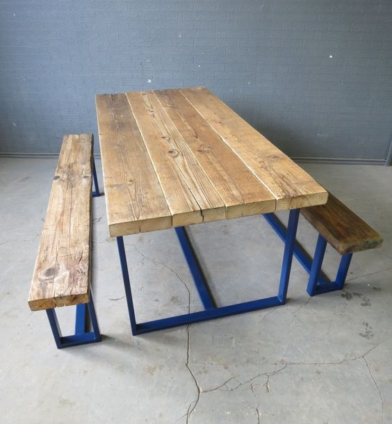 Industrial Chic Custom Indoor Outdoor Reclaimed Timber Dining Table Steel Frame