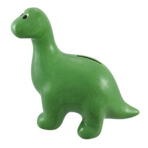 Green brontosaurus dinosaur ceramic coin bank christmas - Dinosaur piggy banks ...