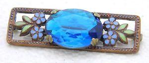 Antique-Victorian-Art-Nouveau-Gold-Tone-Enamel-Blue-Glass-Floral-Pin-Brooch