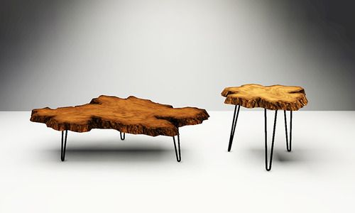 Live Edge Burl Wood Coffee And End Tables Burl Wood Slabs With Natural  Edges Set On Metal Hairpin Legs. §250; Surface U003e Coffee Table §150.