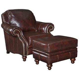 Best Leather Chairs and Ottomans | Broyhill Brown Leather Traditional Chair and Ottoman Set | Overstock ...